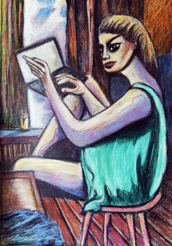Kobieta z laptopem, wnętrza, obrazy, sztuka